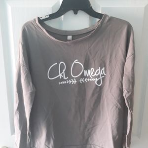 Chi Omega long sleeve scoop neck tee
